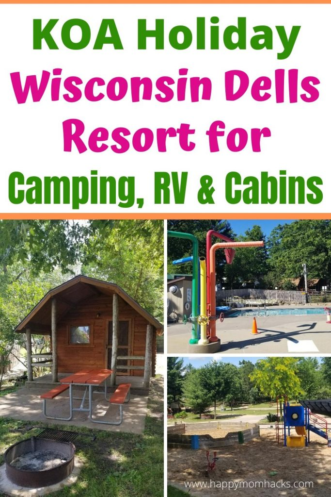 Wisconsin Dells Resort- KOA Campground Resort Review. It's a perfect place for families to camp, park RVs and rent cabins. Plus great amenities such as pools, playgrounds and laundry. Only 1 mile from Downtown Wisconsin Dells. #KOA #wisconsindells #wisconsindellsresort #wisconsindellsdowntown