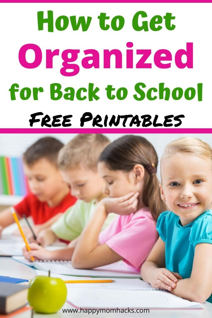 Simple Tips to Get Organized for Back to School. Make it a stress free year with free printable before & after school checklists. How to organized snacks & lunches to make a calm morning. Plus quick meals and decluttering tips. Make it a fun year! #backtoschool #organization #freeprintables #kids #school #organizationtips #schoollunch #schoolsnack