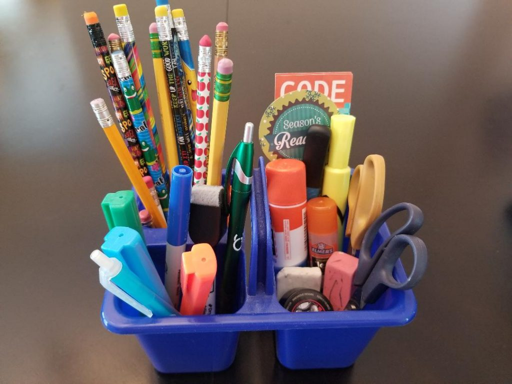 Dollar Tree Pencil Caddy to get kids organized for school work at home.