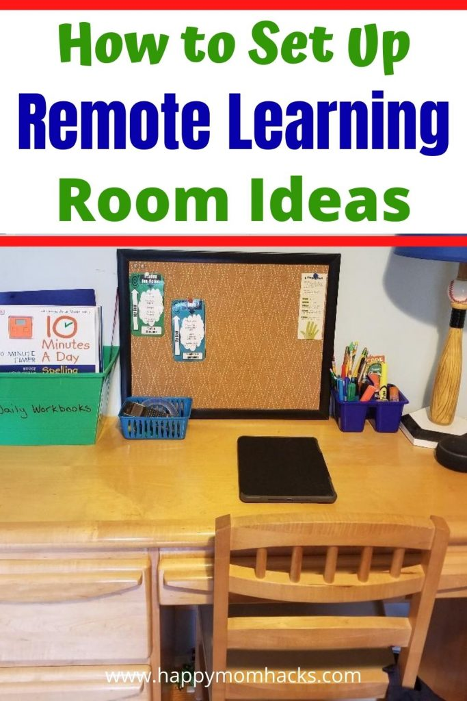 Easy Remote Learning Set Up Ideas at home. How to make a classroom learning area to keep your kids productive while e-learning at home. Budget friendly ideas from Dollar Tree with homeschool supplies they'll need. Plus how to convert your dinning room table or desk area. Make this a great year! #remotelearning #homeschoolrooms #elearning #remotelearningsetupideas #organization #kids #remoteschool