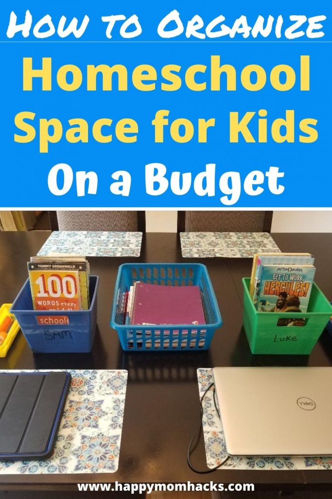 Budget Friendly Homeschool Room Set Up ideas. Easy organization ideas to help kids learn from home. Turn your dinning room or desk area into your homeschool space with these easy tips and homeschool supplies. #homeschool #homeschoolroom #organization #homeschoolspace