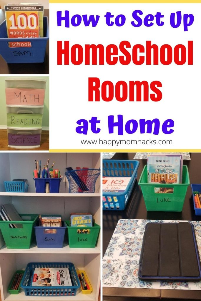 Easy Homeschool & Remote Learning Set Up Ideas & Spaces. Organize a space at home to encourage learning with these easy & cheap ideas to convert your dinning room table or desk area for kids at home. Help kids be productive while doing their school work. #organizing #homeschoolrooms #remotelearning #homeschoolspaces #kids #school