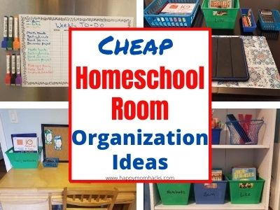Easy & Cheap Homeschool Room Organization Ideas at home. Turn your dinning room into a homeschool space with these budget friendly dollar tree homeschool supplies. Make a productive learning space at home. #homeschool #homeschoolroom #organization #homeschoolspace