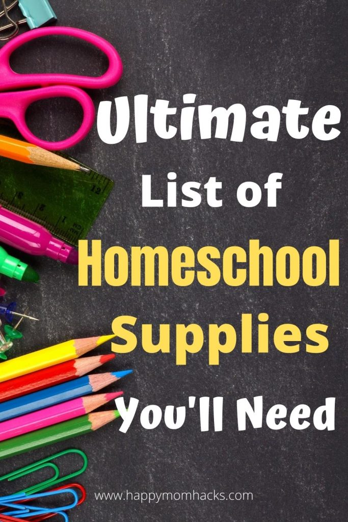 Best Homeschool Supplies for Kids - Complete Supply List of everything you need to start Homeschooling your kids. Get organized with school supplies for parents and kids. #homeschool #kids #schoolsupplies #organization #elementary