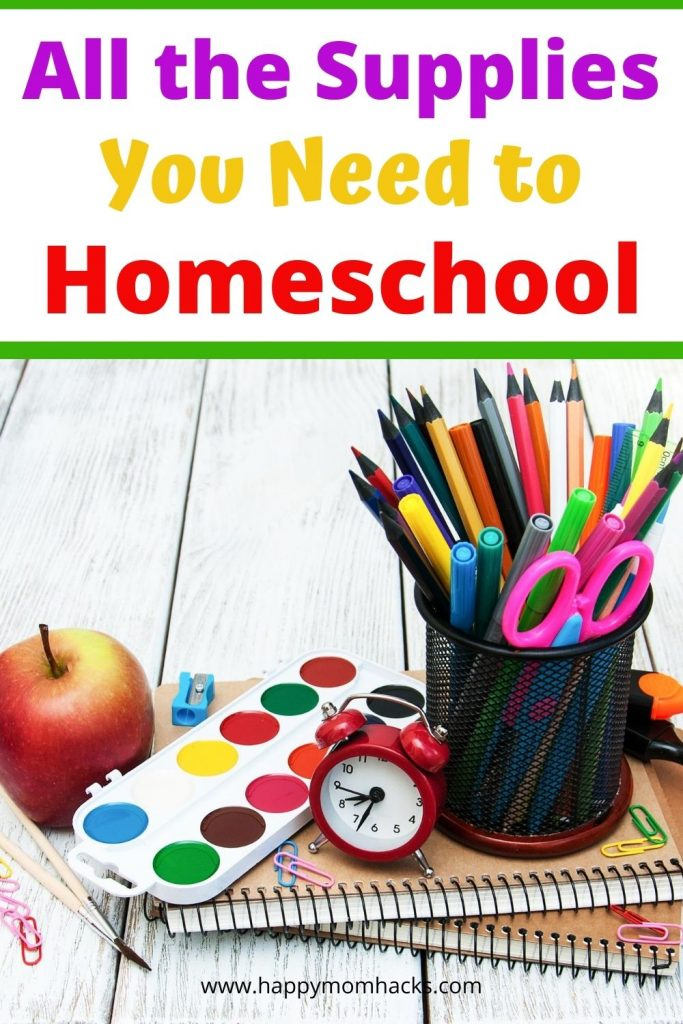 Must Have Elementary Homeschool Supply List to be ready for a great year of homeschooling your kids. Get organized with these essential supplies for parents, teachers and kids. #homeschool #homeschoolsupplies #kids #school #elementary
