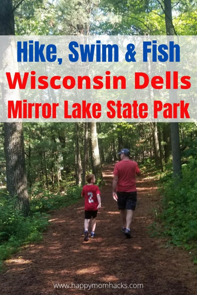 Things to Do in Wisconsin Dells at Mirror Lake State Park. Enjoy hiking trails, campgrounds, fishing, swimming, kayaking and more only minutes from the Dells.  Use this complete guide to Mirror Lake State Park to be ready for your visit. It's a great break from crowded Wisconsin Dells area. #wisconsindells #mirrorlakestatepark #campgrounds #hikingtrails