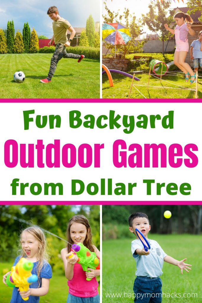 Dollar Tree Outdoor games for kids in your backyard. Cheap kids activities to keep kids busy outside and off electronics. Boredom busting games they'll want to play over & over. Plus their super easy to make without out spending tons of money. #outdoorgames #gamesforkids #kidsgames #kidsactivities #Dollartree