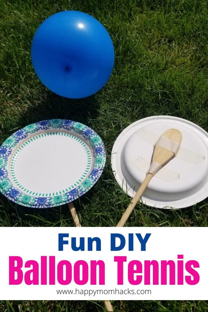 Balloon Tennis is a fun Indoor & Outdoor Game for kids. Easy DIY balloon kids activity to keep them buys for hours. Color the plates and then bat the balloon back and forth. Kids will love this fun game. #balloontennis #indoorgame #outdoorgame #kidsactivitiy