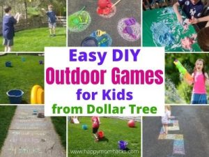 Easy Outdoor Games for Kids - DIY backyard games from Dollar Tree. Keep kids entertained at home with fun water balloon games, chalk games, obstacle course, Frisbee golf and more. Boredom Busting Games they'll want to play over and over. #outdoorgames #kidsactivities #backyardgame #kidsgames #kidsboredombuster