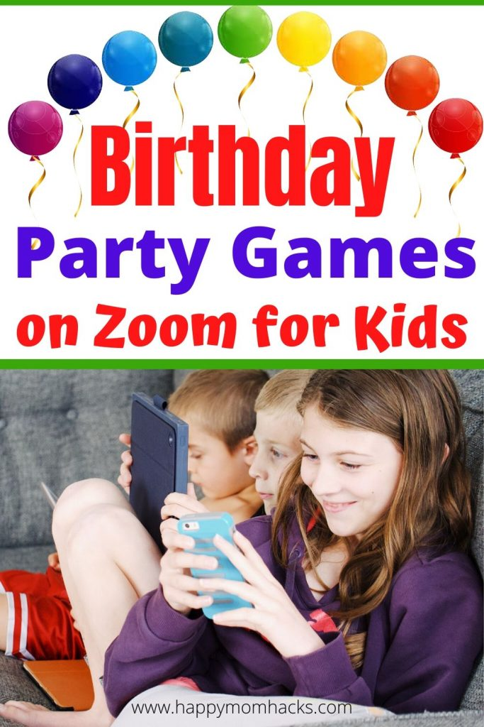 Virtual Birthday Party Games for kids on Zoom plus cool themes for Teen to younger kids. Find out how to throw a virtual party and kids activities to keep them entertained on Zoom. It's easier than you think to throw a virtual party.  #virtualparty #birthdayparty #kidsbirthday #zoomgames #zoomparty