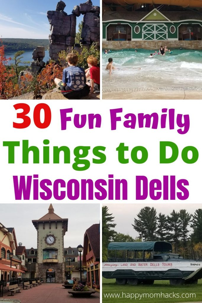 Best Things to Do in Wisconsin Dells with Kids. Plan your Dells trip with the top Dell's attractions for any time of year.  Plus best places to stay from the Wilderness Waterpark Resort & Great Wolf Lodge to KOA Wisconsin Dells. Enjoy Downtown Wisconsin Dells, Ducks tours, Hiking, Waterparks and more. Find something everyone in your family will love.  #wisconsindells #wisconsin #familyvacation #wildernessresort #greatwolflodge #downtownwisconsindells #waterparks