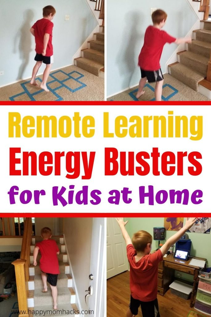 15 Remote Learning Energy Buster Activities for Kids at home. Indoor games & exercises to do on quick breaks from distance learning. Teachers and Parents will love these easy kids activities that will help them refocus on their school work. Plus their super fun!! #remotelearning #distancelearning #energybusters #kidsactivities #activitiesforkids #indoorgames #indoor
