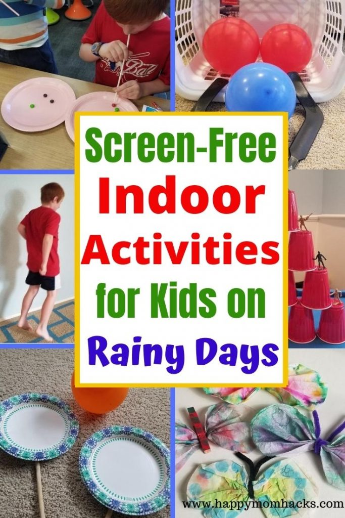 Fun & Easy Rainy Day Indoor Activities for Kids. Screen-free games to keep kids busy when your stuck inside. Get their energy out  at home with boredom buster activities. Kids can play on their own or together as a family. #rainyday #indooractivities #kids #indoorgames #boredombusters