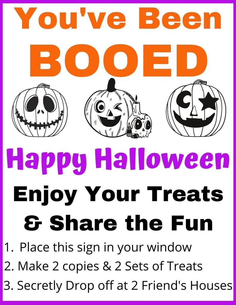 FREE Printable You've Been Booed Sign. Great Halloween Activity for your whole neighborhood.