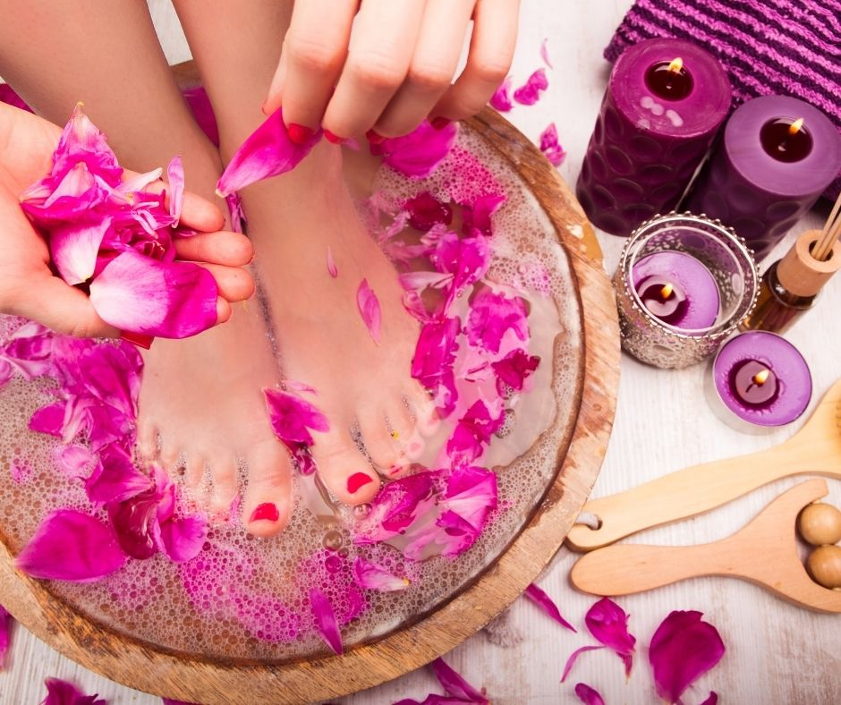 Indulge in a pedicure or manicure for some relaxation and self care.