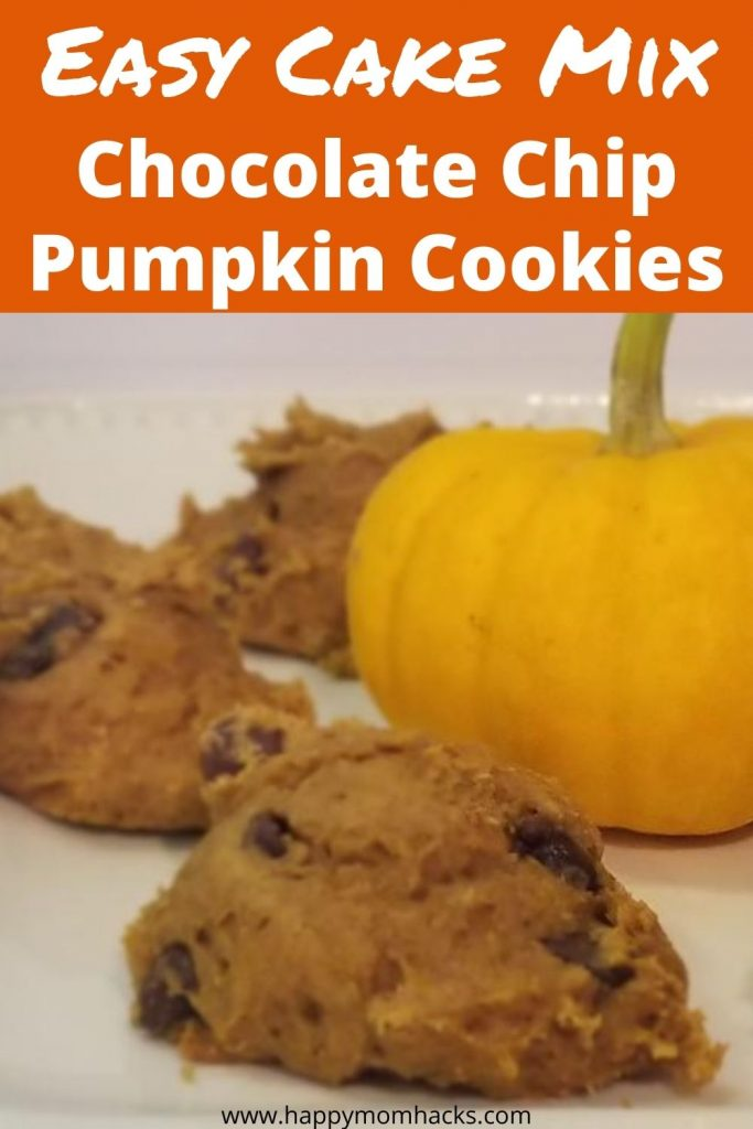 Easy Cake Mix Pumpkin Chocolate Chip Cookies. All you need is 3 ingredients to make these delicious cookies. All you need is pumpkin puree, spiced cake mix, and chocolate chips. Make these for Halloween and Thanksgiving this year. #pumpkincookies #cakemixdessert #easydessert #cookies #pumpkin