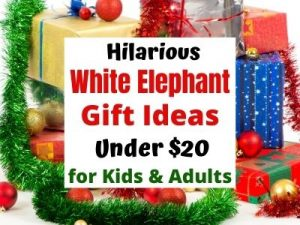 Funny White Elephant Holiday Gift Ideas People Really Want. All gifts are under $20 on Amazon. 22 unique gift exchange ideas for kids and adults. Make it a new Holiday party tradition with a fun White Elephant Gift Exchange. #holidayparty #holidaygiftideas #holidaygifts #whiteelephant #giftexchange #giftsforkids #giftsforadults