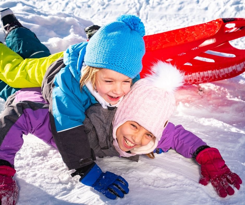 Playing in the snow is a fun way to celebrate the holidays at home. A Christmas activity the whole family can do together.