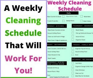Realistic Cleaning Checklist & schedule to get organized. A free printable checklist to help make cleaning your house less stressful. #cleaning #freeprintable #cleaningchecklist