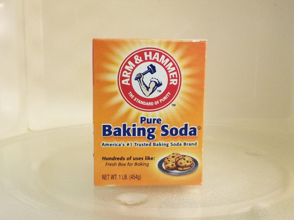 Clean your Microwave with Baking soda to help scrub off that tough caked on food.