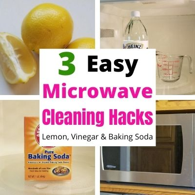 Easy Microwave Cleaning Hacks with Lemon, Vinegar and Baking Soda. All 3 are super simple way to get the stuck on food out of your microwave. All you need is 20 minutes and you'll have a clean microwave. #microwave #cleaninghacks #cleaningtips #lemon #vinegar #bakingsoda #cleanmicrowave