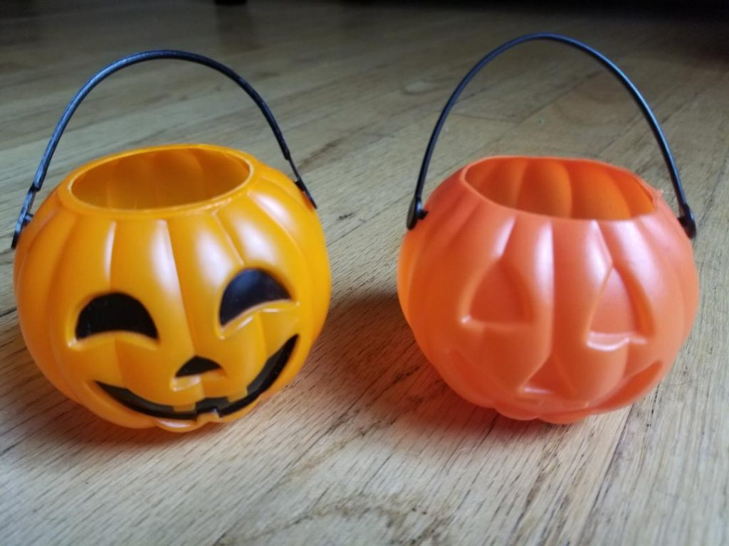 Backyard Halloween Hunt pumpkins. Fun family game in your backyard.
