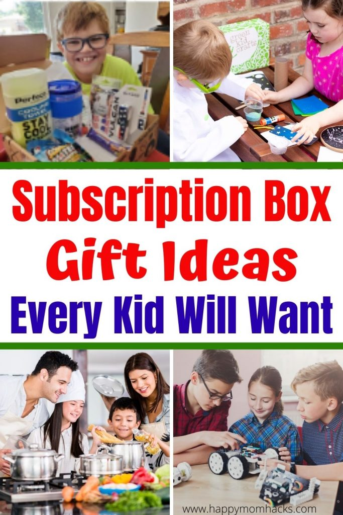 Fun Monthly Subscription Box Gift Ideas for Kids. Find out the best Kits for Baking, Art, Science, Books, Cooking Recipes and Kids Games. You're sure to find a Birthday or Christmas gift your kids will love. They'll be so excited each month when their new Subscription box arrives. Get your kids playing and off electronics with these entertaining gifts.  #birthdaygift #christmasgift #subscriptionbox #giftideas #kids #art #science #baking #books