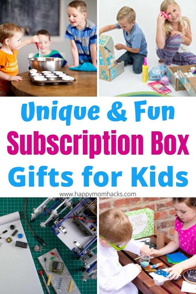 Best Subscription Boxes for Kids. Monthly Gift Ideas they'll love with kits for science, books, kids crafts, baking, cooking recipes, and kids activities. They'll be so excited when their subscription box arrived in the mail.  Give them a gift that keeps giving this year for Birthdays and Christmas. #birthdaygift #christmasgift #giftforkids #subscriptionbox #giftideas