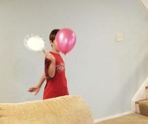 Fun Indoor Activity for Kids Balloon Tennis.