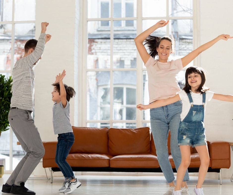 Throw a Dance Party at home and enjoy some fun family time together.