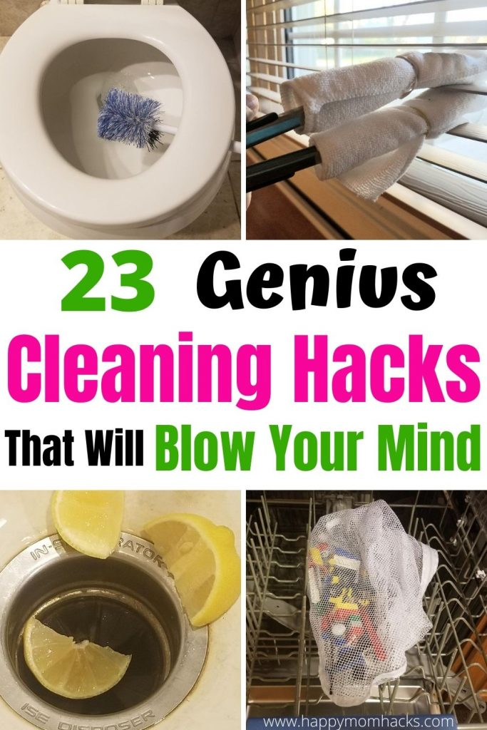 Genius Cleaning Tips & Hacks to deep clean your home. Quick ways to clean your bathroom shower, toilet & grout. Hacks & tricks for your Kitchen oven, disposal, dishwasher & microwave. Then tackle the whole house with washing machines, fans, baseboards & more. The ultimate cleaning tips to make cleaning faster when you dread cleaning your house.  #cleaninghacks #cleaningtips #cleaningtricks #householdhacks #housecleaning