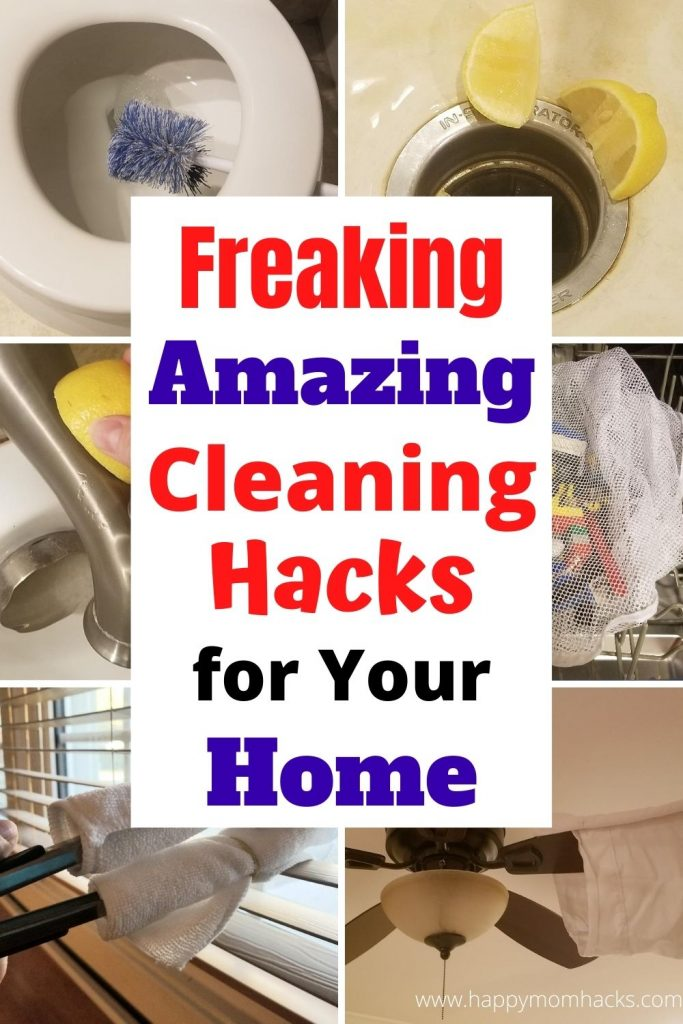 Amazing Cleaning Hacks You Need to Know! Quick cleaning Tips & Tricks for your bathroom, kitchen and whole house. Stop dreading cleaning your house and make it easier with these super simple cleaning hacks you'll love. #cleaningtips #cleaninghacks #cleaningtricks #householdhacks #bathroom #kitchen  #housecleaning