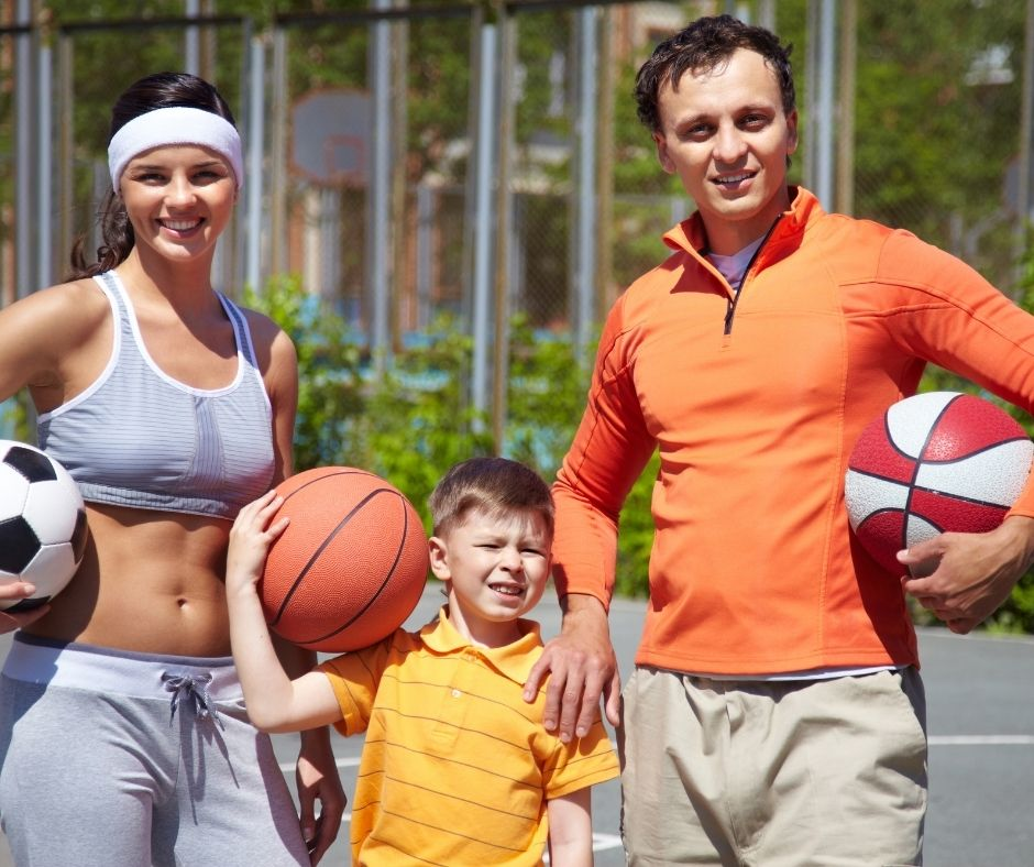 Playing sports is a great family bonding activity for the whole family.