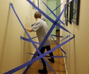 Indoor Hallway Lazer Maze game for kids when your stuck at home.