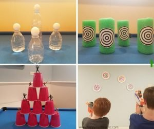 Indoor Nerf Targets for Kids when your staying at home. Fun kids activity with easy DIY target ideas. #nerfgun #nerftarget #kidsactivity #indooractivity