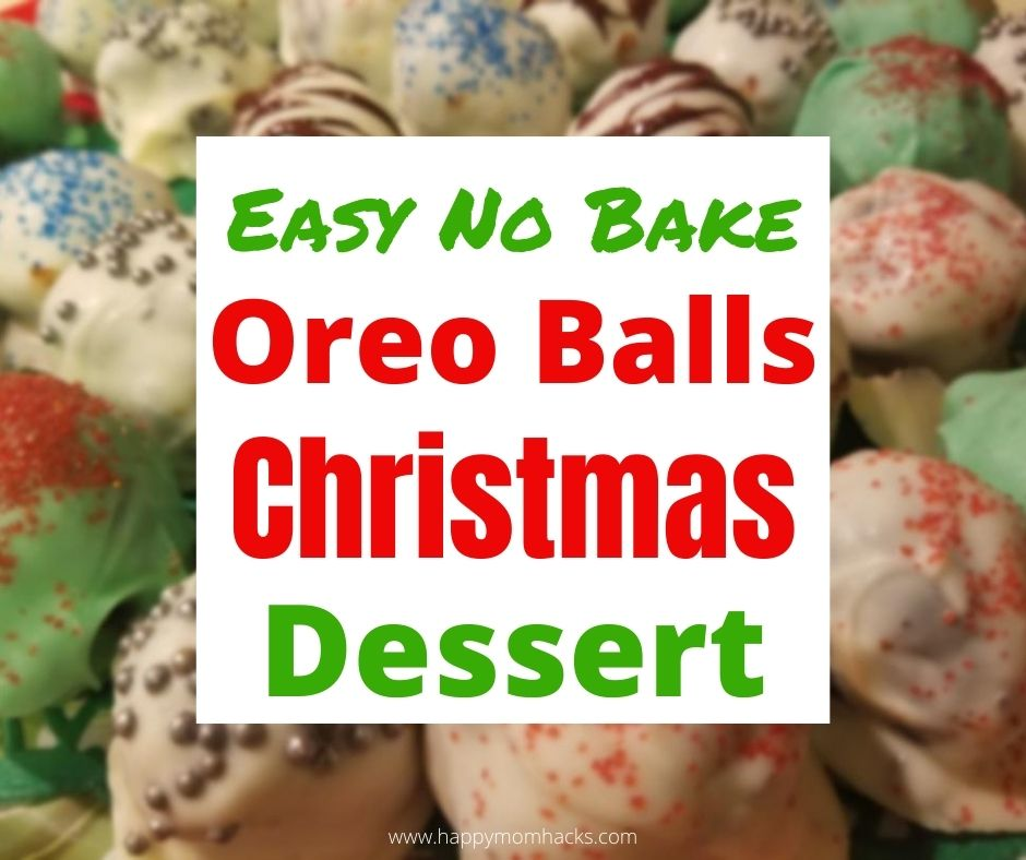 Yummy Christmas Oreo Balls Dessert. A quick no bake holiday dessert any one can make. Learn how to decorate them for every holiday. They'll become your go to party dessert everyone will beg you to make.  #oreoballs #holidaydessert #christmasdessert #nobakedessert #partydessert