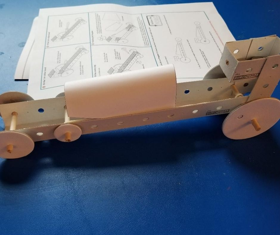 Rubber Band Dragster build with Creation Crate Subscription box. A fun at home STEM project for kids age 12 and up. #STEM #subscriptionbox #science #kidsgifts #giftsforkids