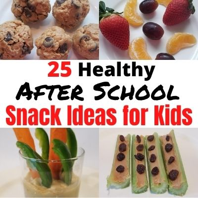 25 Fun & Healthy After School Snack Ideas for Kids. Easy Pantry and Fridge Snacks to make a head of time. Plus healthy grab and go snacks when your on the run. #kidssnacks #healthysnacks #funsnacksforkids #kidsnackideas