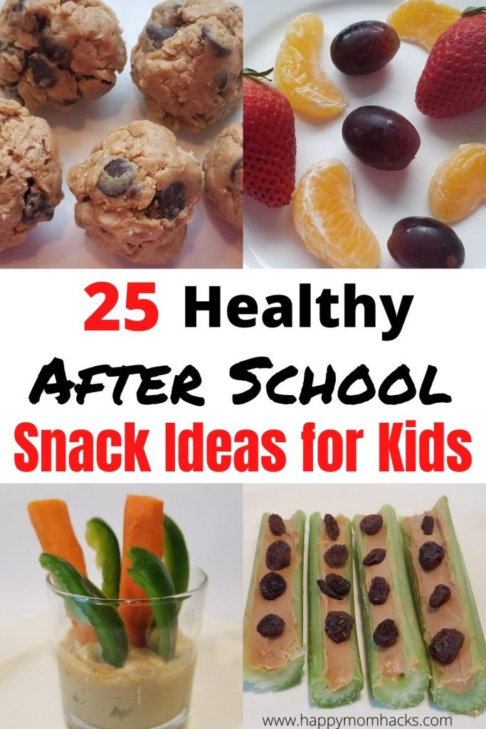25 Easy & Healthy After School Snack Ideas for Kids. Filling afternoon snacks you can make ahead and store as pantry or fridge snacks. Plus grab and go snacks on your way to afternoon activities. Use this list to find the perfect healthy after school snacks from your kids from fruits and veggies to energy balls and banana sushi. Your sure to find something your kids will beg to eat! #kidssnack #snackforkids #energyballs #bananasushi #healthysnacks #snackideasforkids #aftershoolsnacks #easysnacksforkids
