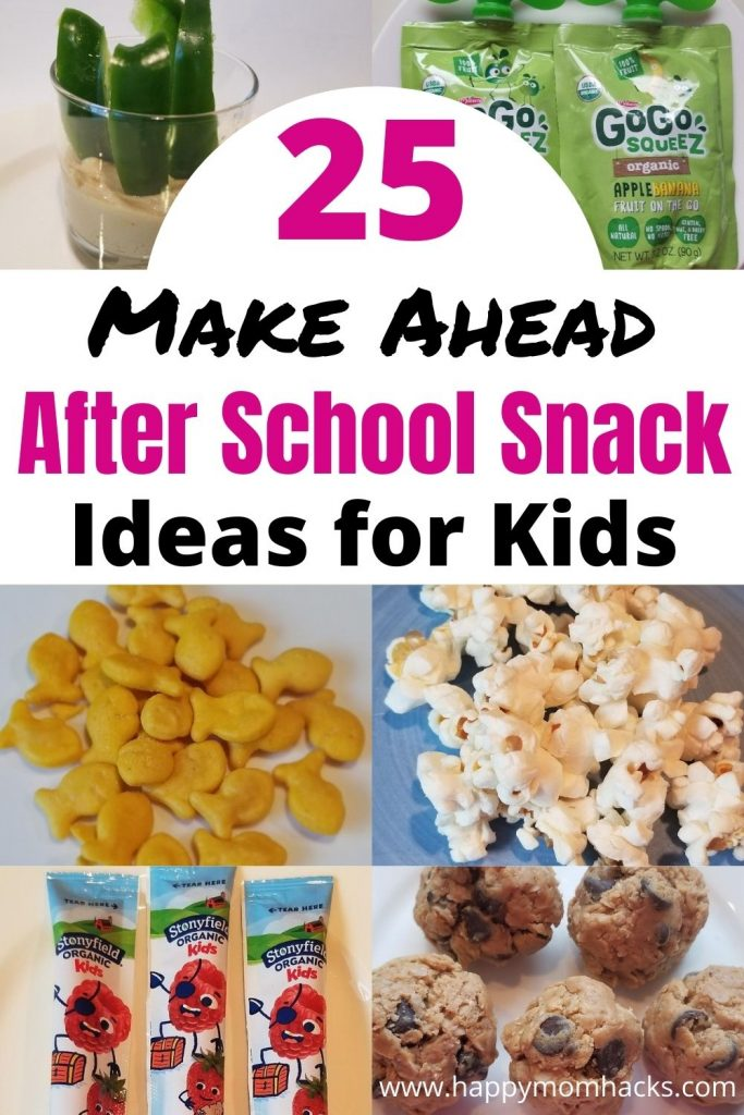 Quick Make Ahead Snack Ideas for Kids. 25 healthy snack ideas your kids will actually eat. Easy fridge snacks and pantry snacks you can set up once a week for the kids. Make snack time less stressful and keep them from grabbing junk food with this easy snack system for kids. #easysnacks #healthysnacks #kidsnacks #afterschool