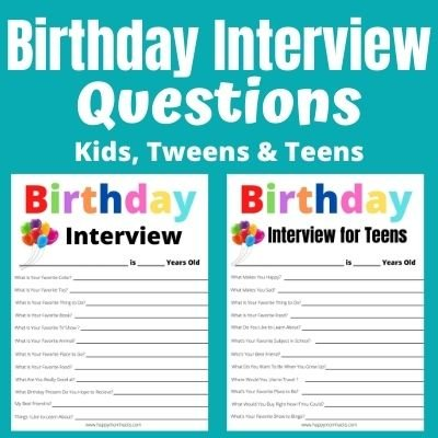 Free Printable Birthday Interview Questions for Kids, Tweens & Teens. Capture kids favorites with this fun birthday tradition.