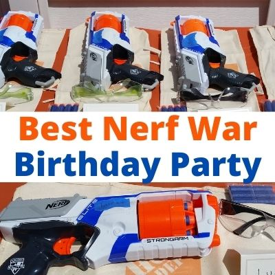 Ultimate Nerf Gun Birthday Party Ideas for Kids. Everything You need to plan a Nerf War party with supplies, battlefields, decorations, Nerf Games, Nerf Targets and party favors. A complete guide to this cool boy birthday party. #birthdayparty #Nerf #Nerfparty #nerfwar #nerfbirthdayparty #nerfgun #nerfgames