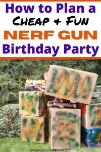 Cheap Nerf Gun Birthday Party Ideas for Kids. Find fun games ideas & battlefields you can create at home. Plus decorations, party favors, and cool nerf targets. A full time line and how to plan the Ultimate Nerf Wars Birthday Party. #nerfgun #nerfbirthdayparty #nerfwars #nerftargets #cheapbirthdayparty #boybirthdayparty #nerfgunparty