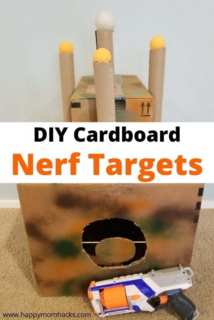 Awesome DIY Cardboard Nerf Targets with recycled items. Create cool spinning targets with cardboard, a straw and a penny. It's so easy and will keep your kids busy for hours. Find out how to make these cool Nerf Targets today!