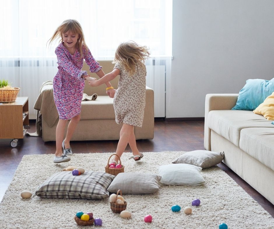 Virtual Easter Party Dance for a Zoom Easter. Dancing the Bunny hop is a fun Easter Activity idea the kids will love.