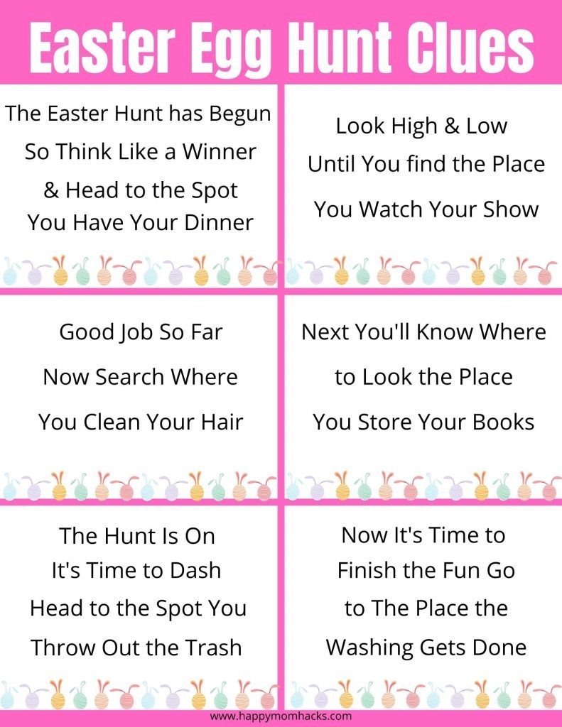 Fun Easter Egg Hunt Clues Free Printable for Virtual Easter Parties or at Home Easter Hunts.