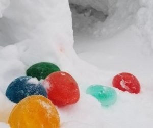 Add cool colored ice balloons to your kids snow forts and castles. They'll love the added color.