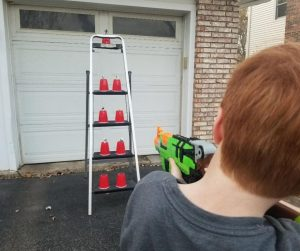 Outdoor Nerf Target for Birthday Parties. A fun game for kids to play at the party.