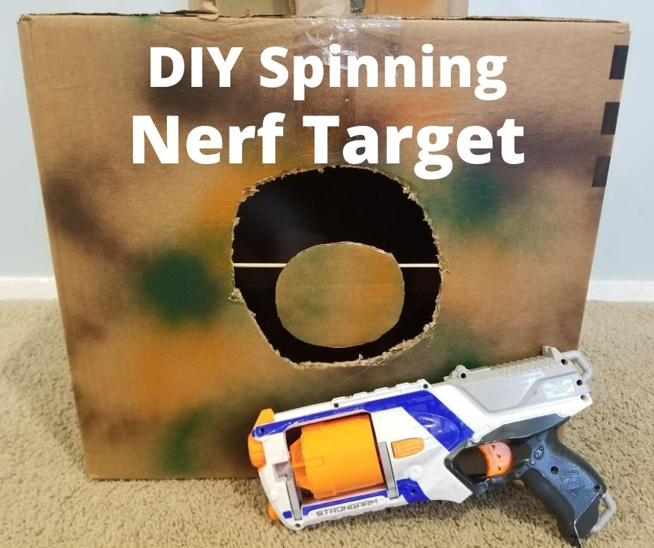 Fun DIY Nerf Targets that Spins made with cardboard for Nerf target practice at home. A perfect rainy day activity for kids.
