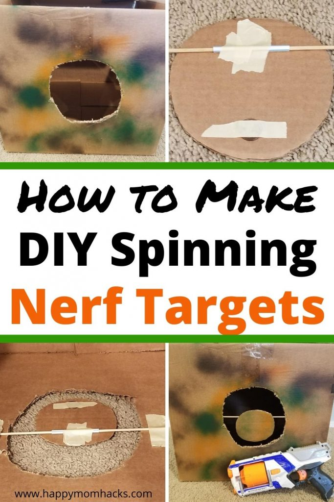 Easy to Make Spinning Nerf Targets for Kids. These DIY Nerf Targets are made with Cardboard, a straw and a penny. It's super cheap to make using items you probably have at home. The targets will keep your Nerf loving kids busy all day.